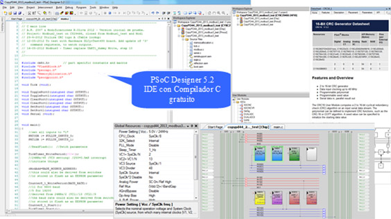 Figure 3.5 –Cypress PSoC (boards DLCy, M4/E, Meteo) programming using PSoC Designer as IDE.