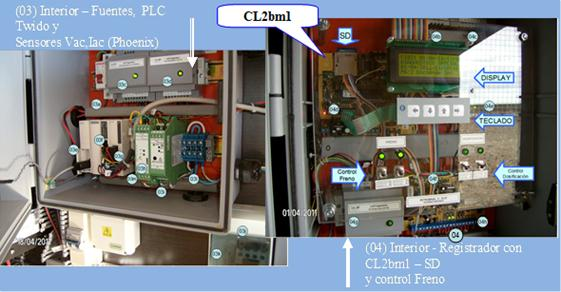Figure 1.3 – AC load measurement for small dosification pump using Schneider PLC and Phoenix/Contact sensors (left) and data logging system for associated wind and PV system, using CL2bm1 and M4E modules from L&R Ingeniería (right)